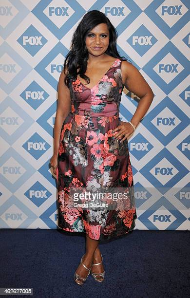 Actress Mindy Kaling arrives at the 2014 TCA winter press tour FOX allstar party at The Langham Huntington Hotel and Spa on January 13 2014 in...