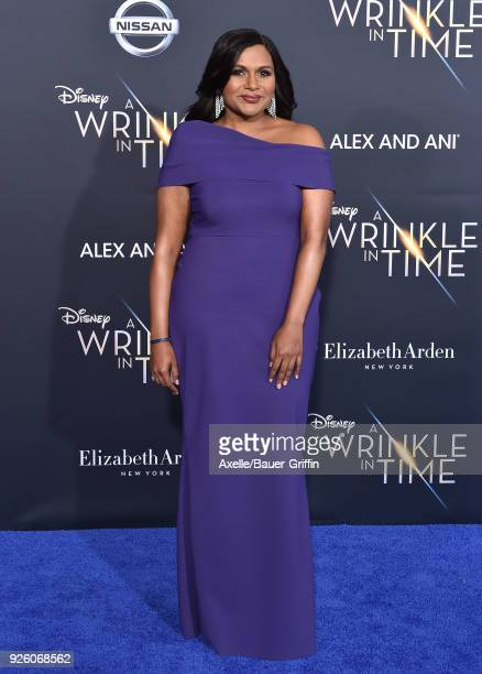 Actress Mindy Kaling arrives at the premiere of Disney's 'A Wrinkle In Time' at El Capitan Theatre on February 26 2018 in Los Angeles California