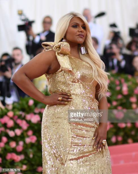 US actress Mindy Kaling arrives for the 2019 Met Gala at the Metropolitan Museum of Art on May 6 in New York The Gala raises money for the...