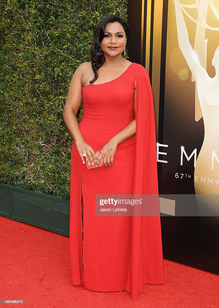 Actress Mindy Kaling attends the 2015 Creative Arts Emmy Awards at Microsoft Theater on September 12, 2015 in Los Angeles, California.