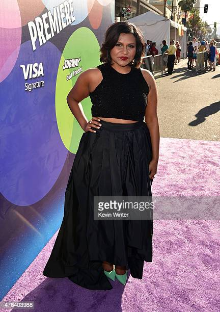 Actress Mindy Kaling attends the Los Angeles premiere of DisneyPixar's Inside Out at the El Capitan Theatre on June 8 2015 in Hollywood California