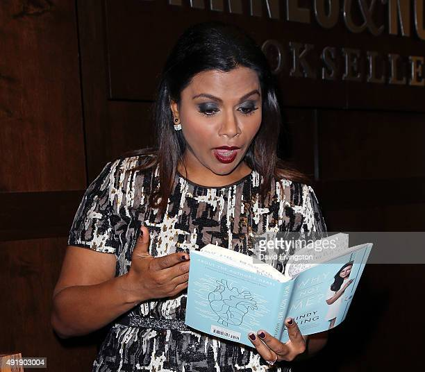 "Actress Mindy Kaling discusses and signs her new book, ""Why Not Me?"", at Barnes & Noble at The Grove on October 8, 2015 in Los Angeles, California."
