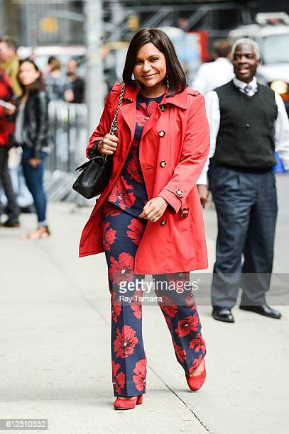 Actress Mindy Kaling enters 'The Late Show With Stephen Colbert' taping at the Ed Sullivan Theater on October 03 2016 in New York City