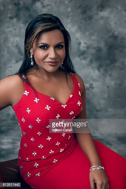 Actress Mindy Kaling poses for a portrait at the 18th Costume Designers Guild Awards at The Beverly Hilton Hotel on February 23 2016 in Beverly Hills...