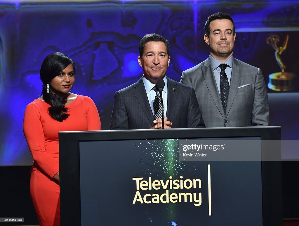 Actress Mindy Kaling, Television Academy Chairman & CEO Bruce Rosenblum and tv personality Carson Daly speak onstage at the 66th Primetime Emmy Awards Nominations at Leonard H. Goldenson Theatre on July 10, 2014 in North Hollywood, California.