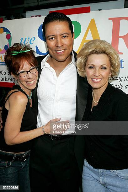 Actress Mindy Sterling actor Yancey Arias and Lorna Patterson arrive at the WeSPARKLE Variety Hour to benefit weSPARK Cancer Support Center held at...