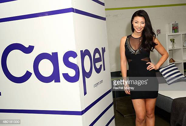 Actress Ming Zhao checks out the Casper mattresses during Casper's LA celebration at Blind Dragon on July 9 2015 in West Hollywood California