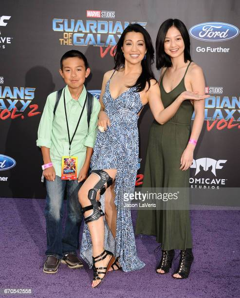 """Actress Ming-Na Wen and son Cooper Dominic Zee and daughter Michaela Zee attend the premiere of """"Guardians of the Galaxy Vol. 2"""" at Dolby Theatre on..."""