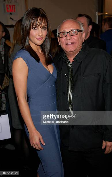 Actress Minka Kelly and designer Max Azria attend Herve Leger by Max Azria Fall 2008 during MercedesBenz Fashion Week at the Promenade Bryant Park on...