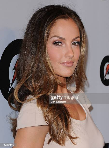 """Actress Minka Kelly arrives at the Gatorade's New """"G Series Fit"""" Launch Party at SLS Hotel on April 12, 2011 in Beverly Hills, California."""