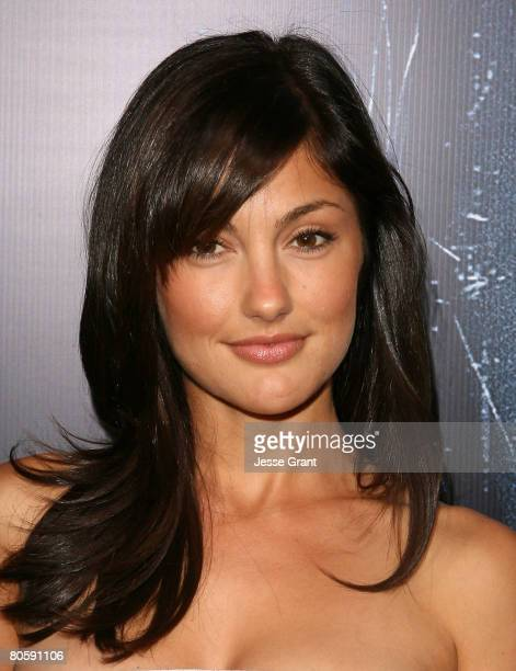 Actress Minka Kelly arrives at the World Premiere of Screen Gems' 'Prom Night' at the Cinerama Dome on April 9 2008 in Los Angeles California