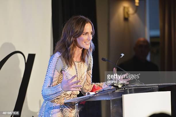 Actress Minka Kelly speaks onstage at The DAILY FRONT ROW 'Fashion Los Angeles Awards' Show at Sunset Tower on January 22 2015 in West Hollywood...