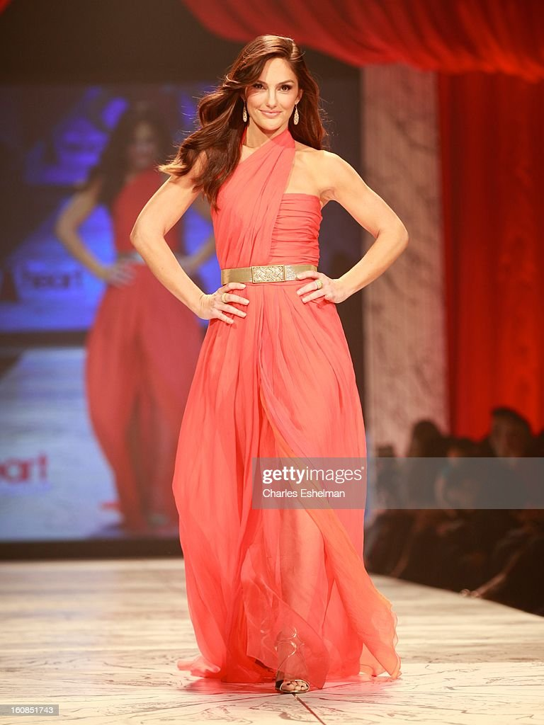Actress Minka Kelly walks the runway at The Heart Truth's Red Dress Collection Fall 2013 Mercedes-Benz Fashion Show at 499 Seventh Avenue on February 6, 2013 in New York City.
