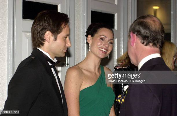 Actress Minnie Driver and American actor David Duchovny who star in the film speak to the Prince of Wales at the premiere of Return to Me at the...