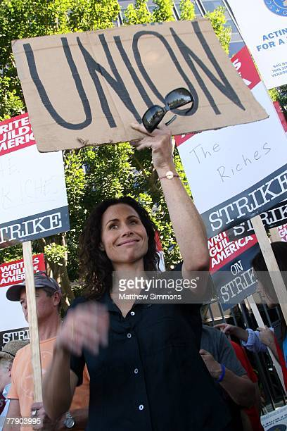 Actress Minnie Driver pickets in support of the Writers Guild of America which is currently onstrike for increased residuals from film and television...