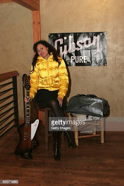 Actress Minnie Driver visits the Gibson Guitar display at the Gibson Gift Lounge during the 2005 Sundance Film Festival on January 26 2005 in Park...