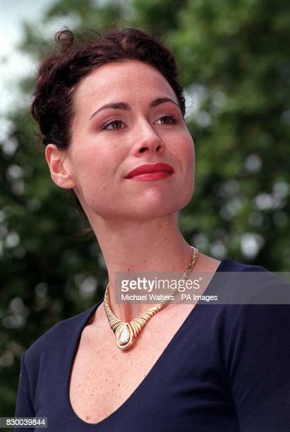 Actress Minnie Driver wears a magnificent diamond necklace at the preview of the completion of the Natural History Museum's Earth Galleries