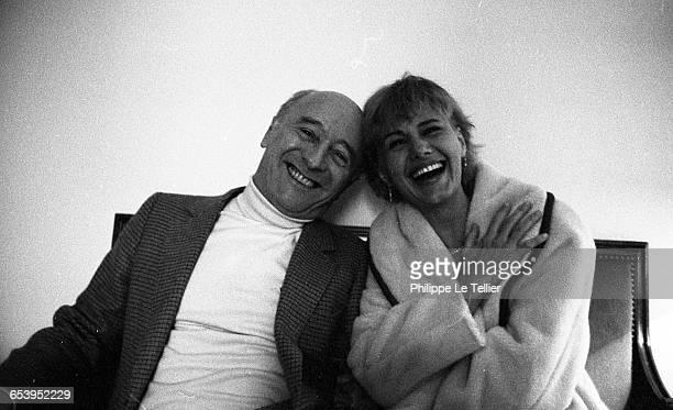 Actress MiouMiou and director Michel Audiard Paris France 02/1981