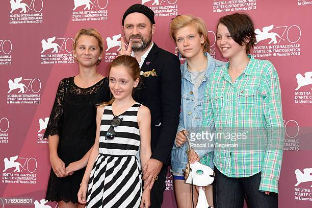 Actress Mira Barkhammar director Lukas Moodysson actressess Liv LeMoyne Mira Grosin and director's daugther Lily Moodysson attend the 'We Are The...
