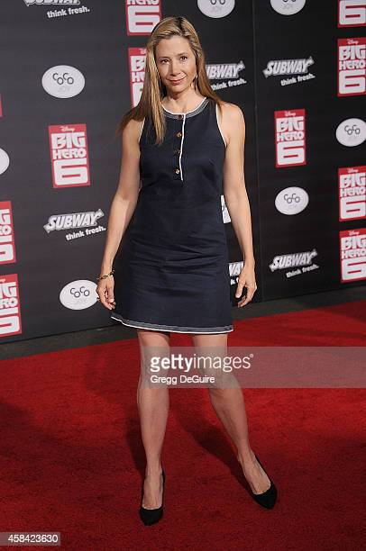 Actress Mira Sorvino arrives at the Los Angeles premiere of Disney's Big Hero 6 at the El Capitan Theatre on November 4 2014 in Hollywood California