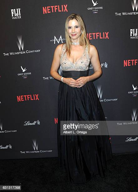 Actress Mira Sorvino arrives for the 2017 Weinstein Company And Netflix Golden Globes After Party on January 8 2017 in Los Angeles California