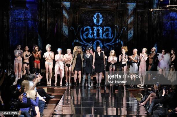 Actress Mira Sorvino #Cancerland Champagne Joy and Anaono founder Dana Donofree walk the runway during AnaOno Intimates X #Cancerland at New York...