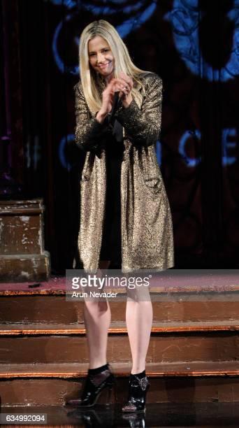 Actress Mira Sorvino speaks on the runway during AnaOno Intimates X #Cancerland at New York Fashion Week Art Hearts Fashion NYFW FW/17 at The Angel...
