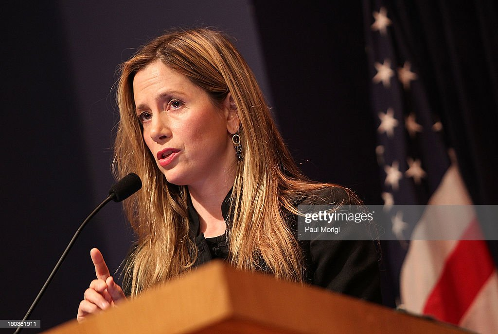 Actress Mira Sorvino, United Nations Goodwill Ambassador on HumanTrafficking, discusses immigration-related law enforcement challenges through the lens of anti-human trafficking at Georgetown University's Institute for the Study of International Migration forum on January 30, 2013 in Washington, DC.