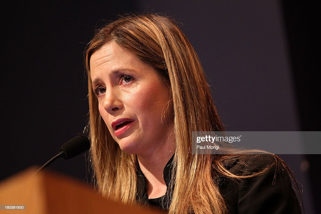 Actress Mira Sorvino, United Nations Goodwill Ambassador on Human Trafficking, discusses immigration-related law enforcement challenges through the lens of anti-human trafficking at Georgetown University's Institute for the Study of International Migration forum on January 30, 2013 in Washington, DC.