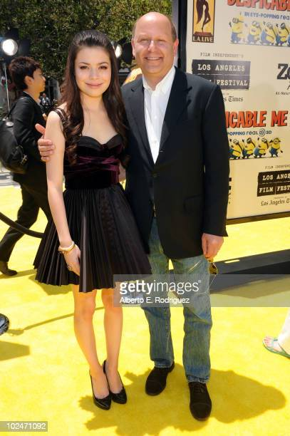 Actress Miranda Cosgrove and producer Chris Meledandri arrive to the premiere of Despicable Me during the 2010 Los Angeles Film Festival at Nokia...