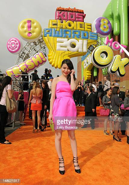 Actress Miranda Cosgrove arrives at Nickelodeon's 24th Annual Kids' Choice Awards at Galen Center on April 2 2011 in Los Angeles California