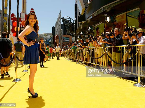 Actress Miranda Cosgrove arrives at the premiere of Universal Pictures' 'Despicable Me 2' at Gibson Amphitheatre on June 22 2013 in Universal City...