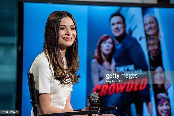 """Actress Miranda Cosgrove speaks about the show """"Crowded"""" during AOL Build at AOL Studios In New York on March 18, 2016 in New York City."""