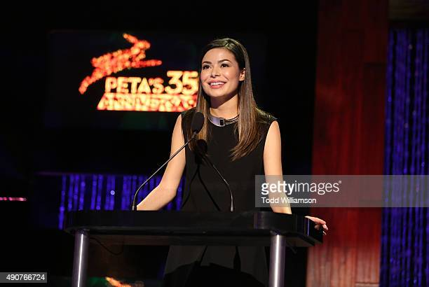 Actress Miranda Cosgrove speaks onstage at PETA's 35th Anniversary Party at Hollywood Palladium on September 30 2015 in Los Angeles California