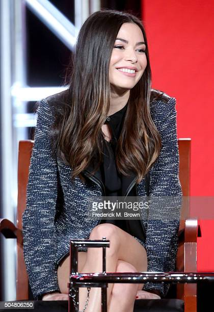 Actress Miranda Cosgrove speaks onstage during the 'Crowded' panel discussion at the NBCUniversal portion of the 2015 Winter TCA Tour at Langham...