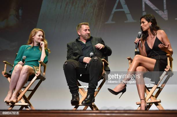 Actress Miranda Otto actor Anthony LaPaglia and actress Stephanie Sigman attend the premiere of Warner Bros Pictures' 'Annabelle Creation during the...