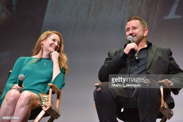 Actress Miranda Otto and actor Anthony LaPaglia attend the premiere of Warner Bros Pictures' 'Annabelle Creation during the 2017 Los Angeles Film...
