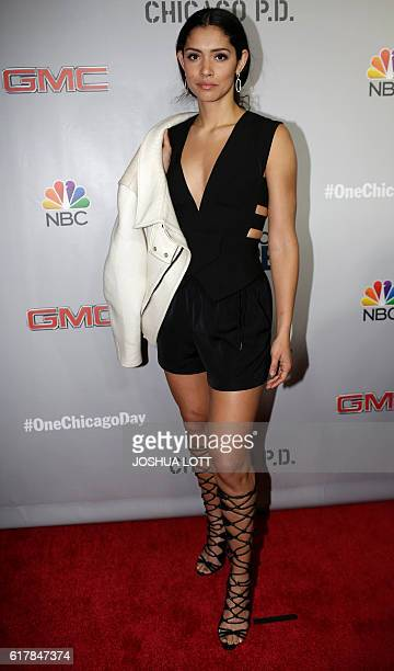 Actress Miranda Rae Mayo arrives for the NBC Chicago Fire Chicago PD Chicago MED and Chicago Justice red carpet event on October 24 2016 in Chicago /...