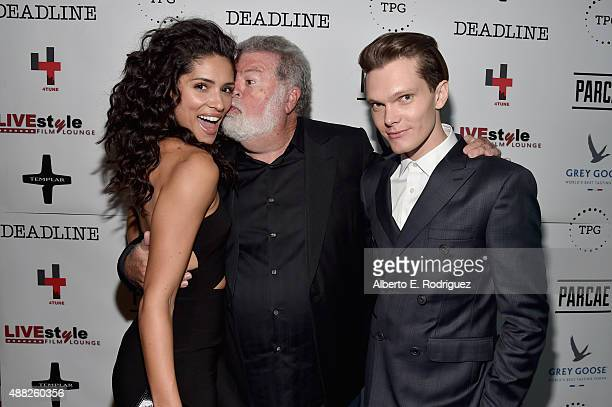 """Actress Miranda Rae Mayo, cinematographer Dean Cundey and actor Luke Baines attend """"The Girl In The Photographs"""" reception during the 2015 Toronto..."""