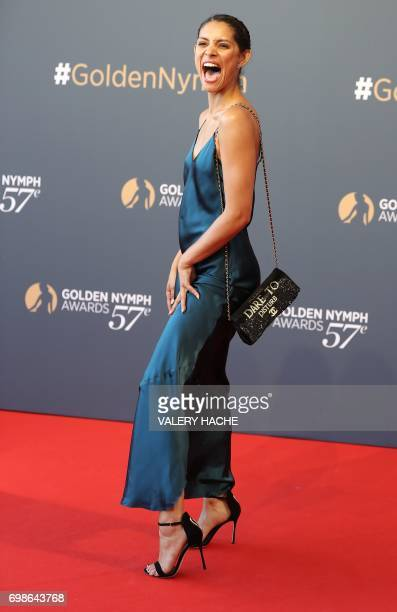 US actress Miranda Rae Mayo poses during the closing ceremony of the 57th MonteCarlo Television Festival on June 20 2017 in Monaco / AFP PHOTO /...
