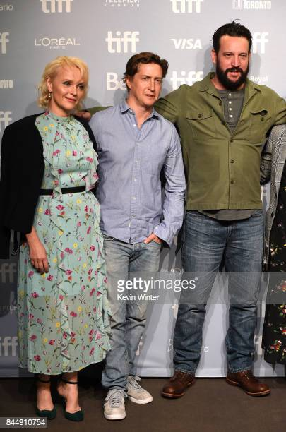 Actress Miranda Richardson director David Gordon Green and screenwriter John Pollono attend the Stronger press conference during 2017 Toronto...