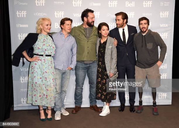 Actress Miranda Richardson director David Gordon Green screenwriter John Pollono actors Tatiana Maslany Jake Gyllenhaal and Jeff Bauman attend the...