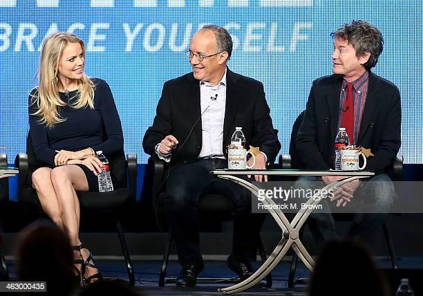 Actress Mircea Monroe David Crane Executive Producer Writer and Jeffrey Klarik Executive Producer Writer speak onstage during the 'Episodes ' panel...