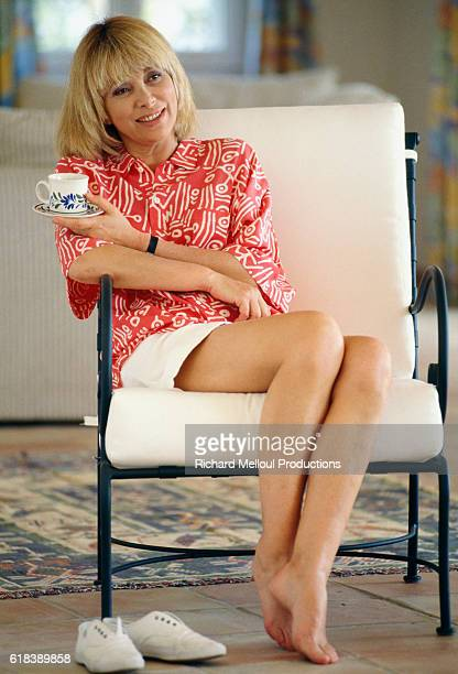 Actress Mireille Darc relaxes on the French Riviera during the filming of her television series Les Coeurs Brules