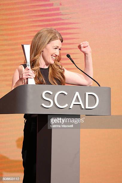 Actress Mireille Enos accepts her SCAD Spotlight Award during aTVfest 2016 on February 6 2016 in Atlanta Georgia