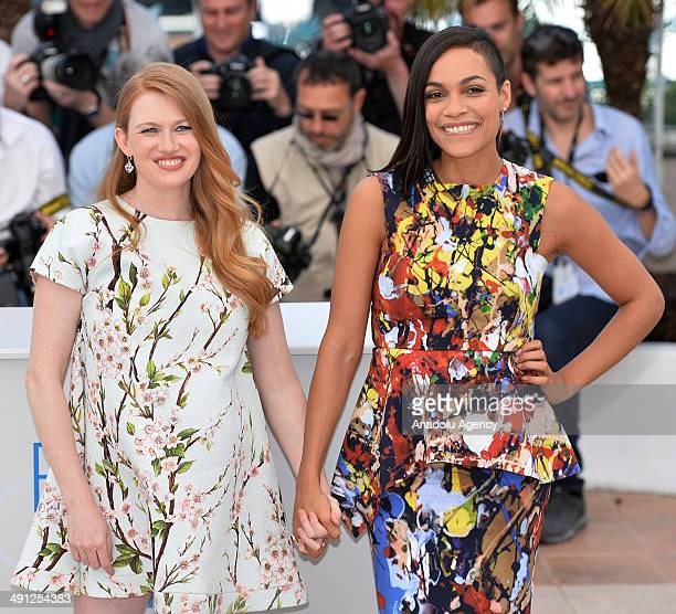 US actress Mireille Enos and US actress Rosario Dawson pose during a photocall for the film Captives in competition at the 67th Cannes Film Festival...