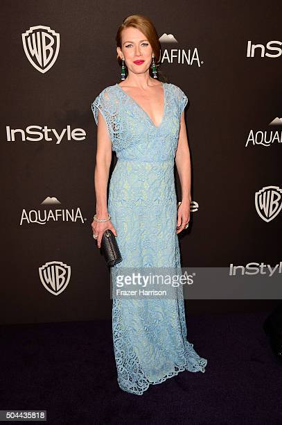 Actress Mireille Enos attends InStyle and Warner Bros 73rd Annual Golden Globe Awards PostParty at The Beverly Hilton Hotel on January 10 2016 in...