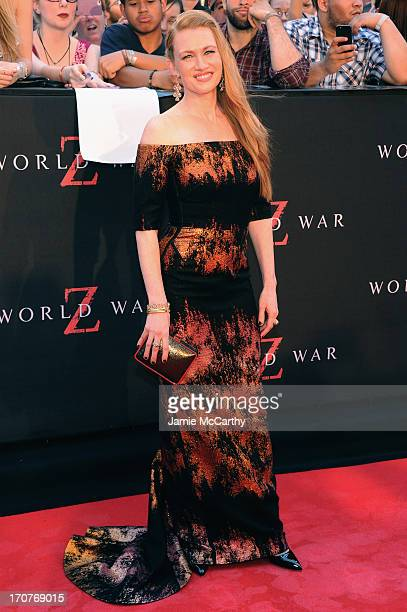 Actress Mireille Enos attends the World War Z New York Premiere at Duffy Square in Times Square on June 17 2013 in New York City