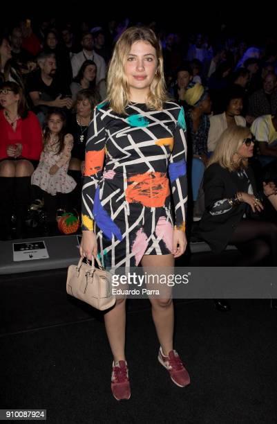Actress Miriam Giovanelli is seen at the Maria Escote show during MercedesBenz Fashion Week Madrid Autumn/ Winter 201819 at IFEMA