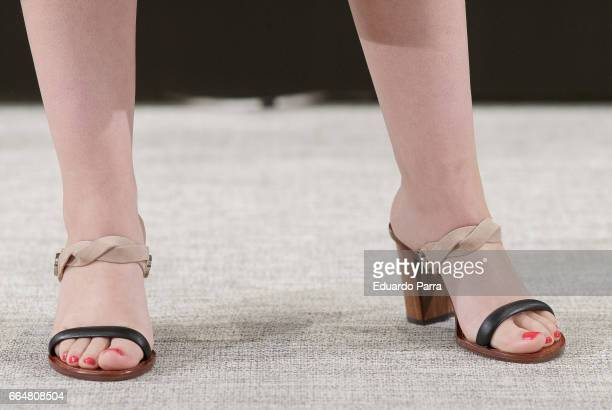 Actress Miriam Giovanelli shoes detail attends the 'El pelotari y la fallera' photocall at Me hotel on April 5 2017 in Madrid Spain